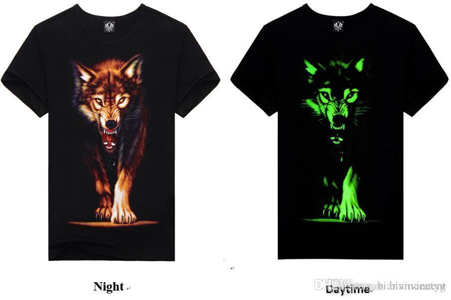Mens el verano del diseñador de camisetas ropa del hombre de la impresión 3D luminoso que brilla en la oscuridad de fluorescencia Noctilucence estilos divertidos impresión de tamaño S-XXXL