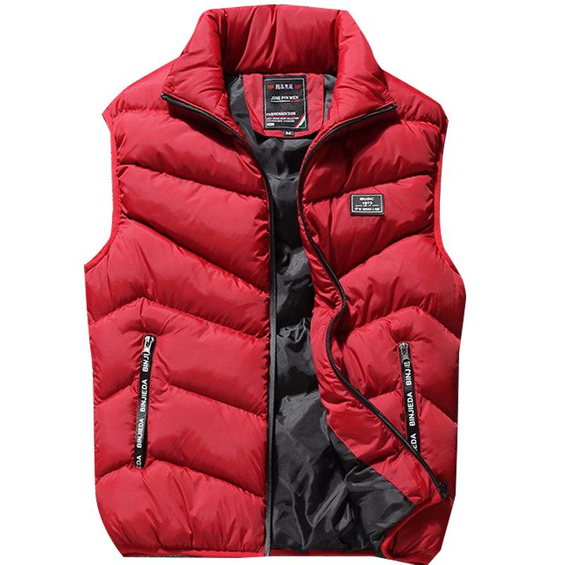 Invierno más el tamaño del chaleco Parka Mens ocasionales de la cintura delgada capa de los hombres de otoño del collar del soporte sólido Chaleco térmico sin mangas de la chaqueta de la nueva marca