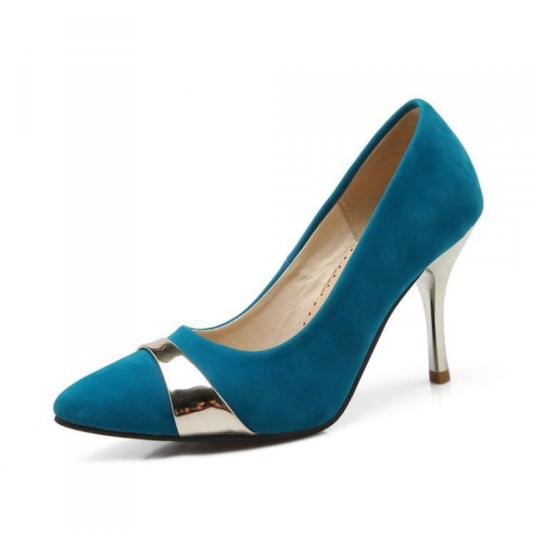 Sexy2019 Singles Zapatos de tacón alto con espalda de metal para mujeres Boca baja Zapato individual Will 40-43 6-7
