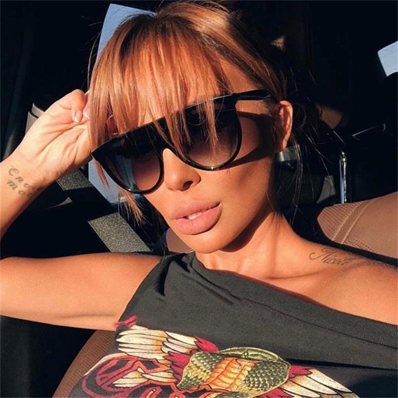 Womens Mens Fashion Oversized Sunglasses Flat Top Pilot Sun Glasses Girls Shades