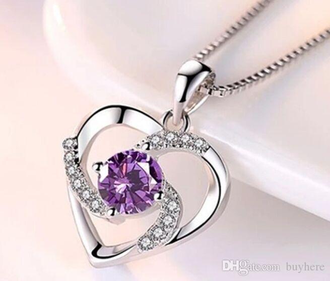 AAA12 immer Liebhaber-Herz-Anhänger-Halskette 925 silberne Halskette Weibliche 5pic