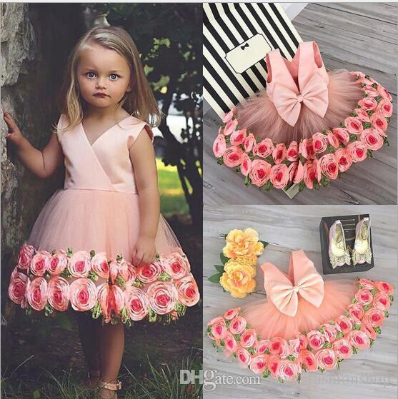 Retail Baby Girls Floral Princess Dress Kids Sleeveless 3D rose Flower Appliqued Wedding Party Prom Dresses Children Ruffle Pleated Dress