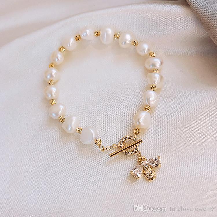 luxury design Zircon honeybee bracelet special baroque pearl bracelet micro-inlaid craft superior light luxury bracelet ins pearl chain brac