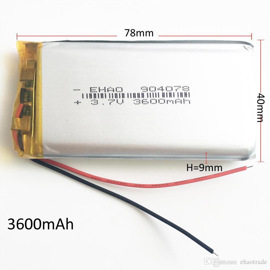 Модель 904078 3.7 В 3600 мАч Литий-полимерный литий-ионный аккумулятор для DVD PAD Мобильный телефон GPS Power Bank Камера Электронные книги Рекодер TV box