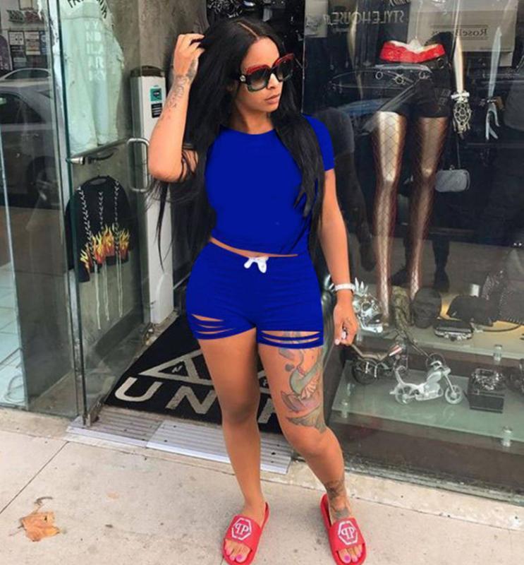 اثنين من قطعة اللباس tmustobe عارضة الأزياء الصلبة اللون الدعاوى مجموعة للنساء الصيف شارع تي شيرت + الدانتيل يصل انفجرت شورت السراويل