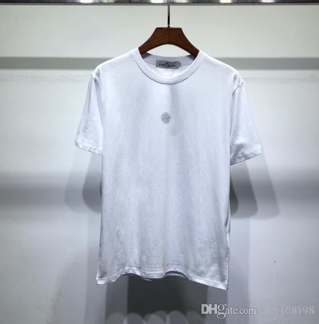 2019 여름 라운드 칼라 반팔 T 셔츠 하이 엔드 브랜드를 인쇄하는 새로운 패션 라운드 넥 부드럽고 얇은 남성 셔츠 여름 ..