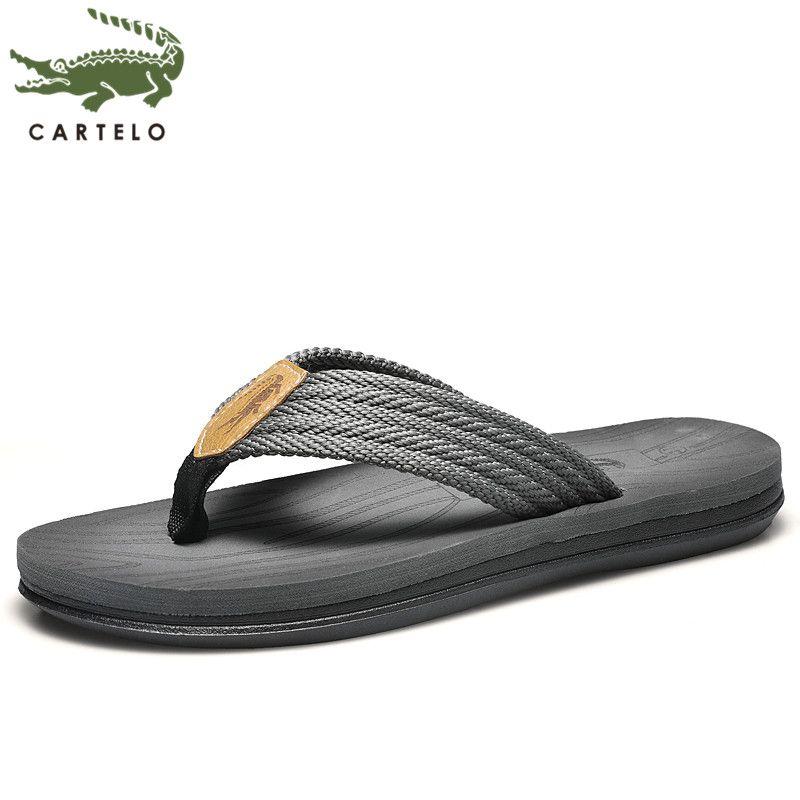 CARTELO men's shoes flip flops casual outdoor beach wear-resistant light slippers men