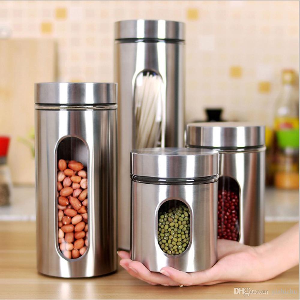 유리 식품 저장 용기 스테인레스 스틸 통조림, 밀폐 뚜껑, 파스타, 차, 커피, 쿠키, 간식 용 저장 용기