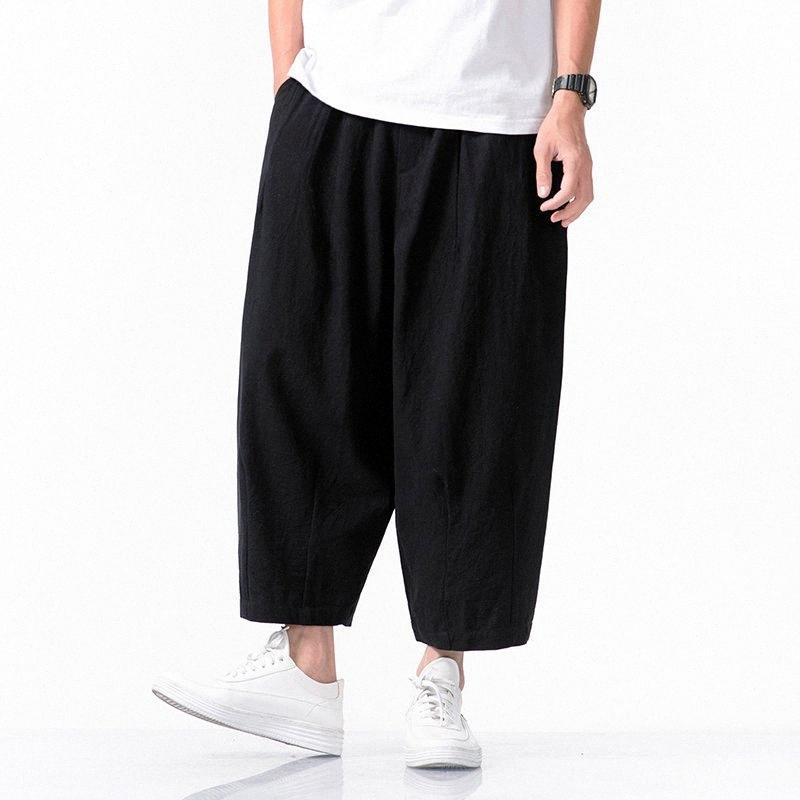 2020 2020 Hombre ocasional otoño pantalones anchos de la pierna Harem Mans estilo de Japón Harem flojo masculino del tamaño grande sólido activan los pantalones Streetwear 1gF9 #
