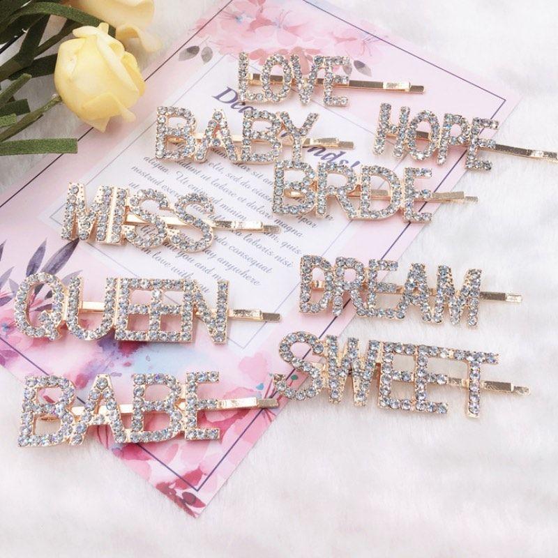 Gold Kristall Strass Brief Haar Clips Mädchen Haarnadel Bling Diamant Wörtern Barrettes Mode Pony Clip Frau Großhandel