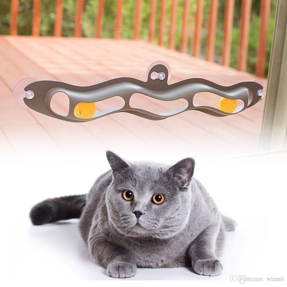 2018 애완 동물 액세서리 참신 실제 트랙 볼 고양이 컵 창 흡입 빨판 베이 트랙 볼 장난감