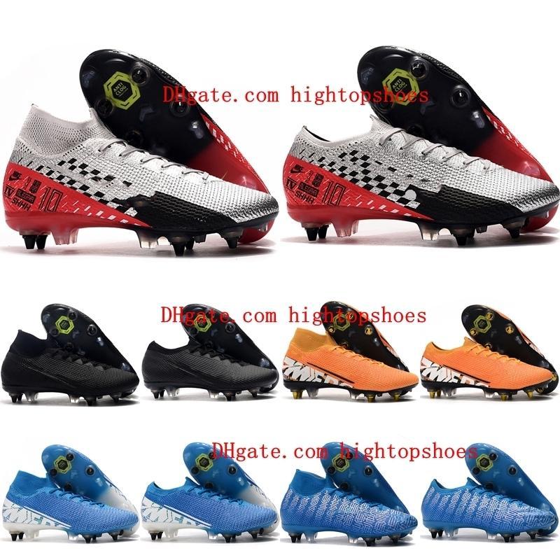 mens 2019 de calidad superior botas de fútbol Mercurial Superfly Elite 7 SG-PRO zapatos de fútbol AC baratos botas de fútbol Mercurial CR7 vapores 13 Elite SG