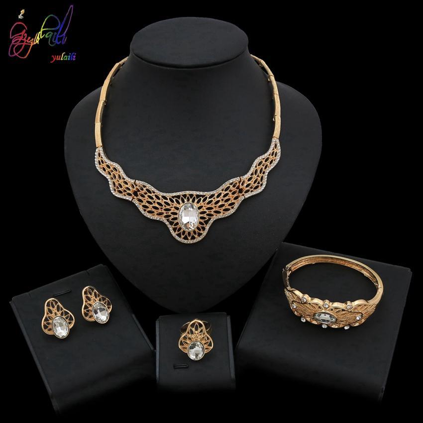 Conjuntos de Jóias Yulaili clássico africanos for Wedding Party Anel Brincos Mulheres cor do ouro pulseira colar Jóias frete grátis