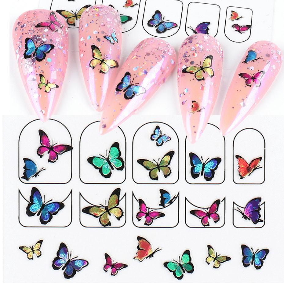 Autocollants de Nail Art Colorful Papillon 3D Décalques adhésifs design Diy Manucure Sliders Wraps Fells Décoration pour Nails LA1787
