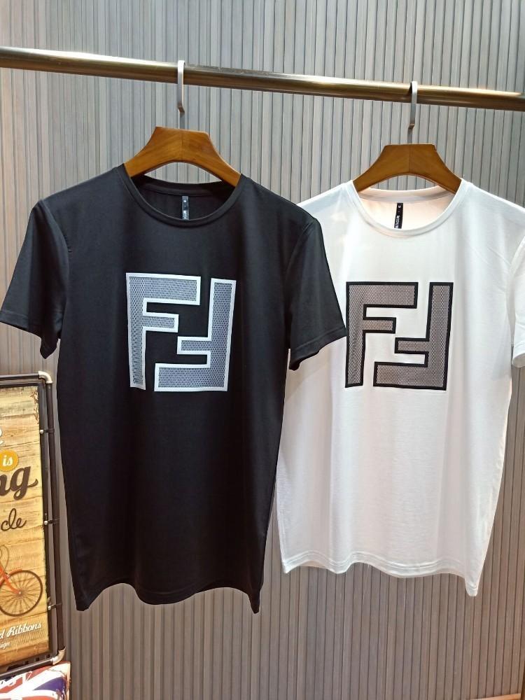 Herren neue T-Shirt mercerisierter Baumwolle atmungsaktiv Mode lässig Double F Druck wild Essential Half Sleeve