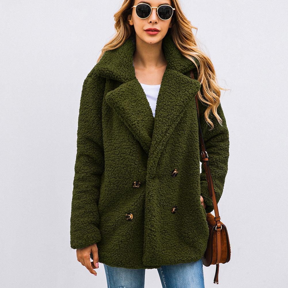 2019 Sonbahar Ve Kış Moda Düğme Ceket Yaka Sıcak Pakas Kadınlar Ticked Kadın Coat Fur Coat Cepler
