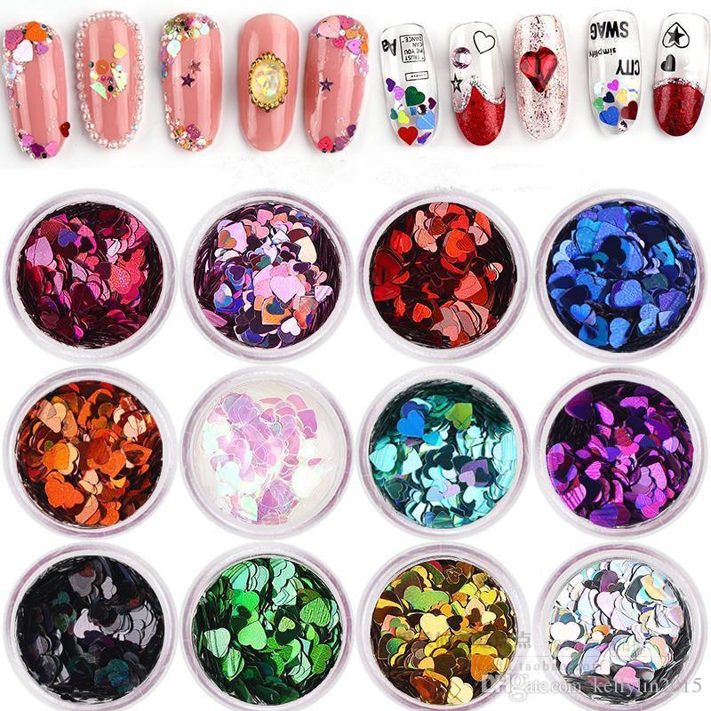 다채로운 반짝이 네일 아트 장식 12 색 / 세트 복숭아 심장 모양의 장식 조각 손톱 스티커 라인 석 매니큐어 DIY 도구