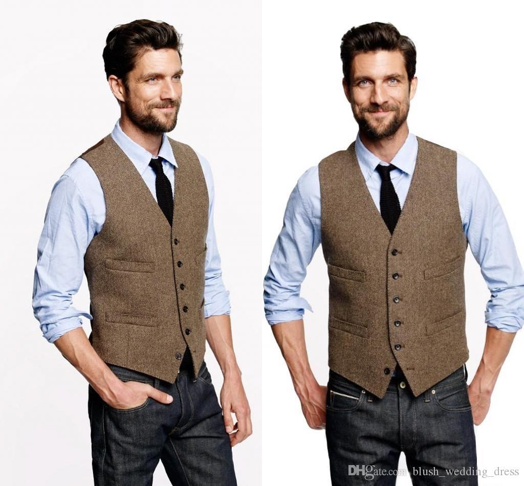 Personalizzato Gilet Vintage Wedding Brown Tweed gilet di lana a spina di pesce sposo Gilet British Style Mens Suit Gilet Slim Fit Mens Dress Vest