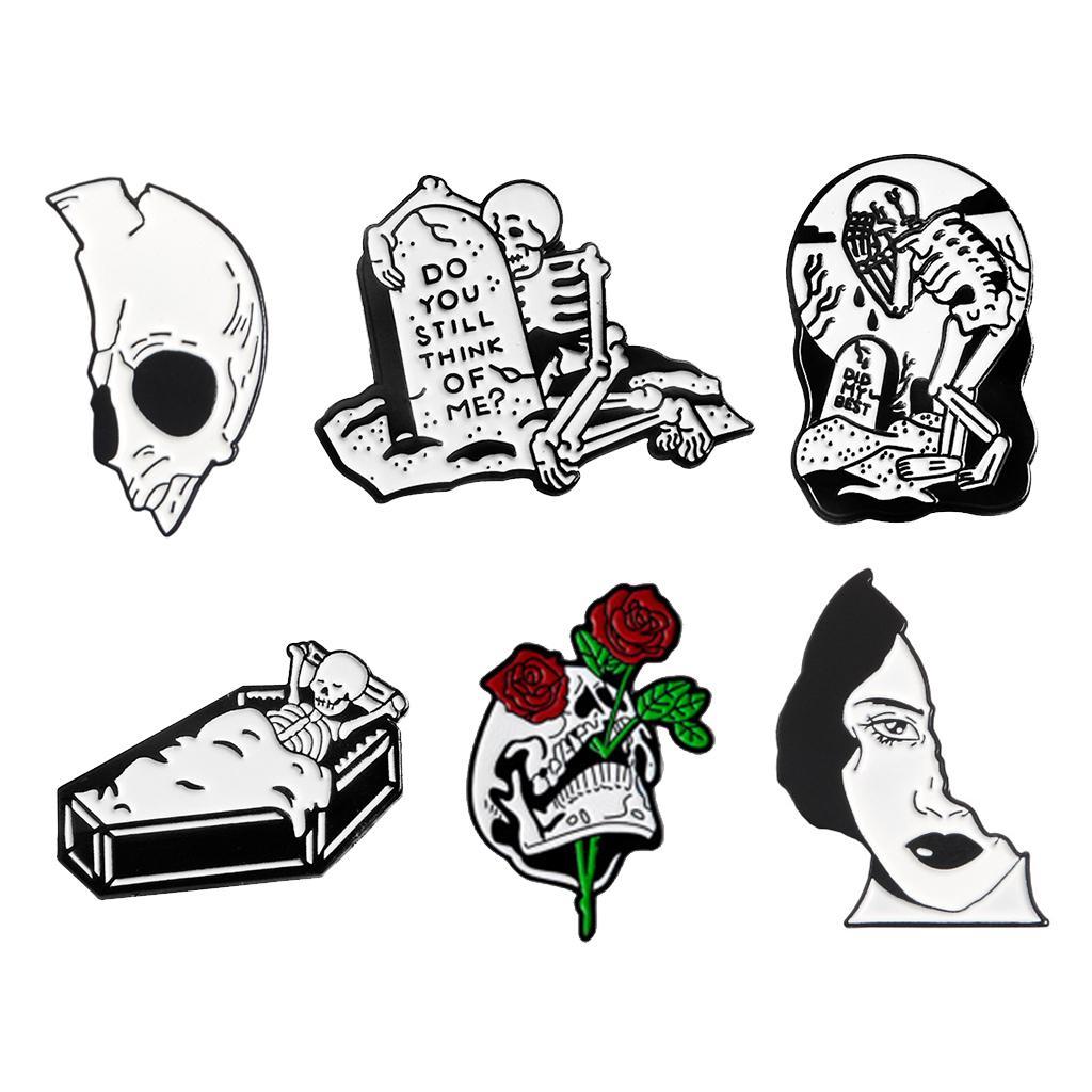 6Pcs Karikatür Kafatası Gül Broş Yaka Pim Seti Emaye Düğme Rozet iğneler Siyah Totem Ceket Gömlek Cadılar Bayramı Kostüm Aksesuar Bağlı