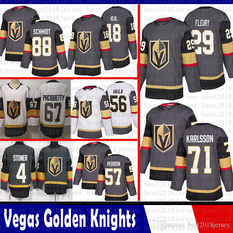 another chance bb943 366ea 2019 Vegas Golden Knights 29 Marc Andre Fleury Jersey 18 James Neal 71  William Karlsson 56 Erik Haula 88 Nate Schmidt 57 David Perron Pacioretty  From ...