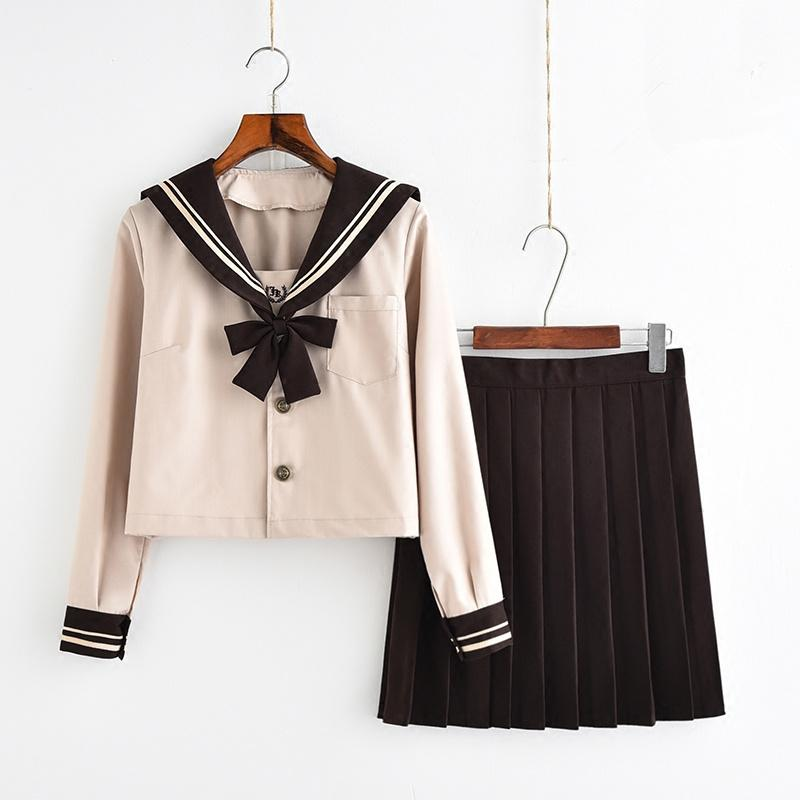 2018 New Arrival Japanese JK Sets School Uniform Girl Milk tea color Autumn High School Women Novelty Sailor Suits Uniforms XXL C18122701