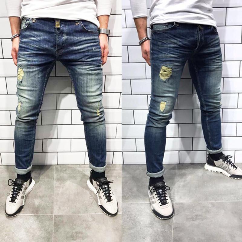 Erkekler siyah kot İnce delik Jeans Moda Hip hop Sıska kalem İçin Erkekler yüksek sokak giyim streç homme yırtık kot