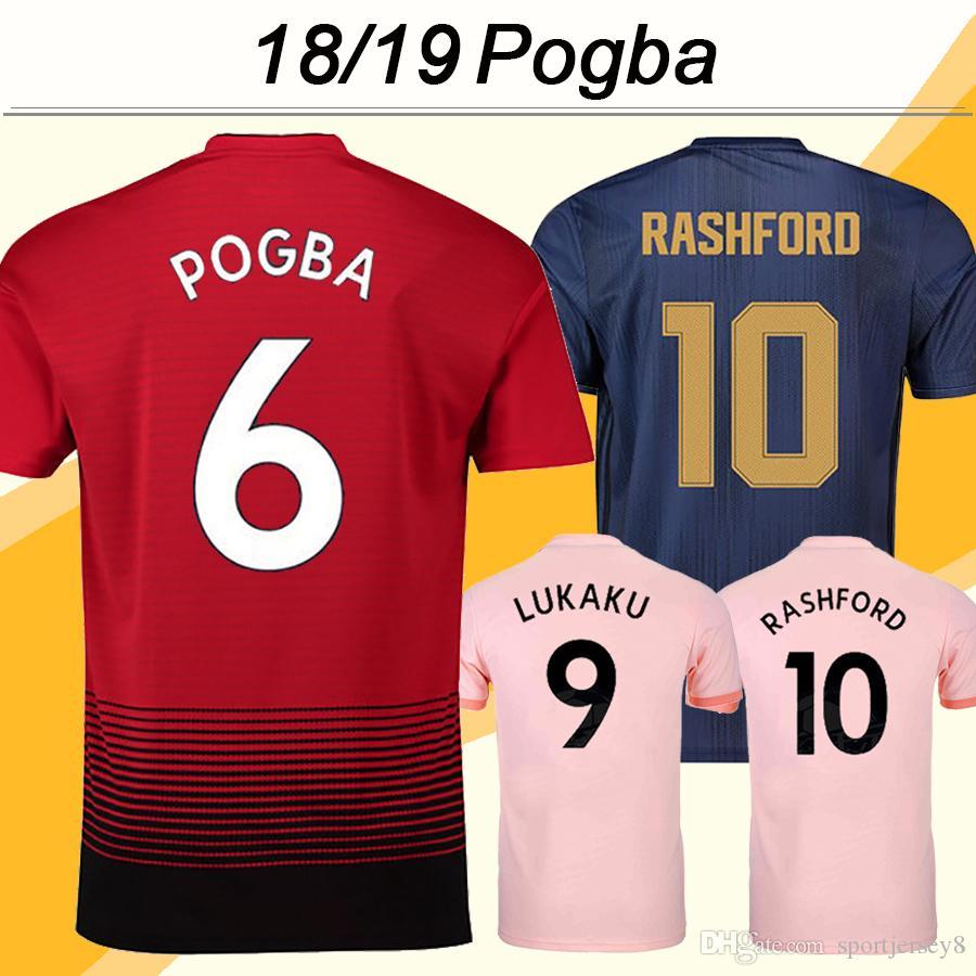 18 19 POGBA ALEXIS Soccer Jerseys LUKAKU MATA MARTIAL RASHFORD Football Shirts MATIC LINGARD MARCOS ROJO Home Away 3rd Mens Uniforms