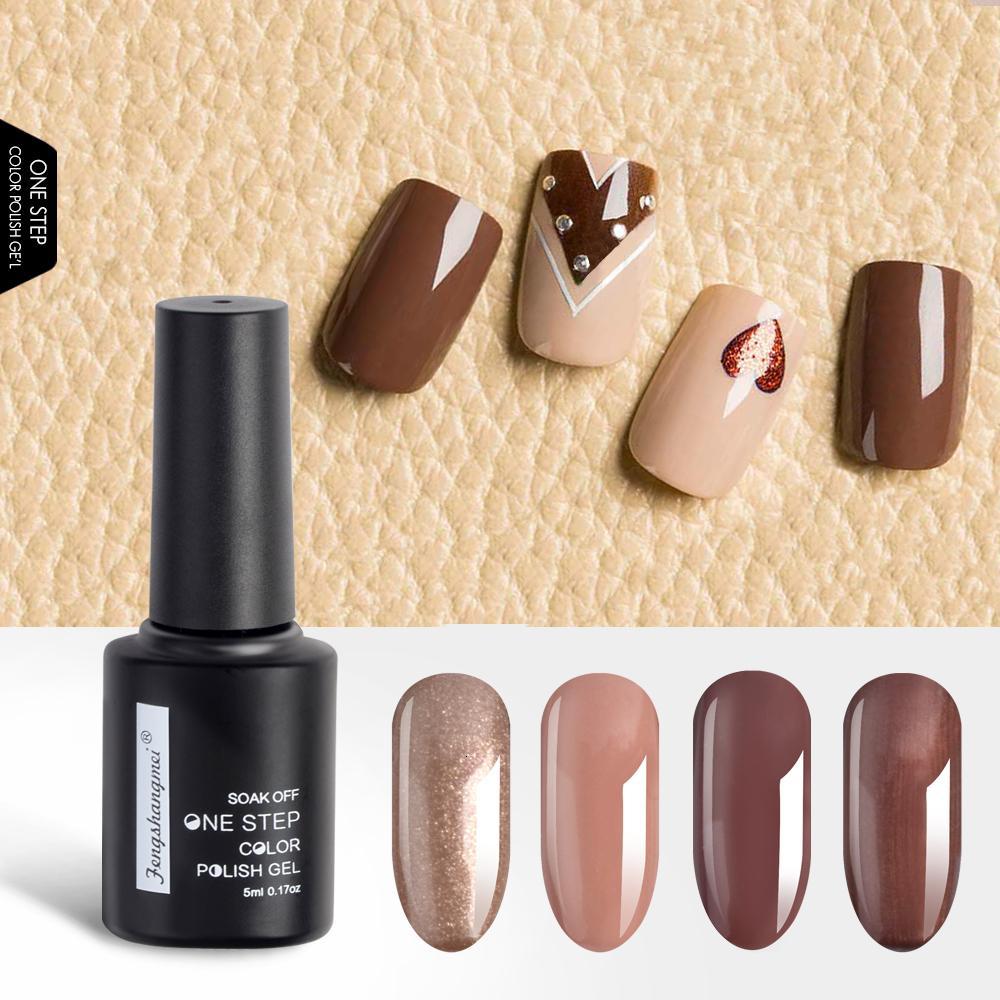 fengshangmei One Step Gel Polish Nail Art Design Gelpolish For Nails Easy Colored Gellak 3 in 1 UV Gel Polish Varnish