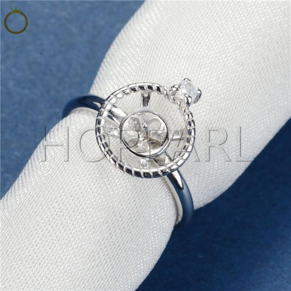 HOPEARL Jewelry Circle Round Twisted Shape Ring Semi Mount Findings 925 Sterling Silver DIY 3 Pieces