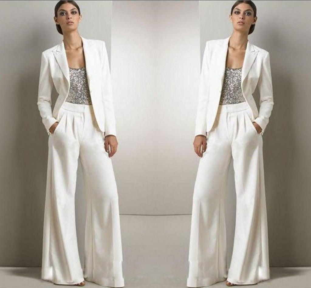 2020 Новый Bling Блестки Цвета Слоновой Кости Белые Брюки Костюмы Мать Невесты Платья Формальные Шифон Смокинги Женщины Партия Одежда Мода Скромный