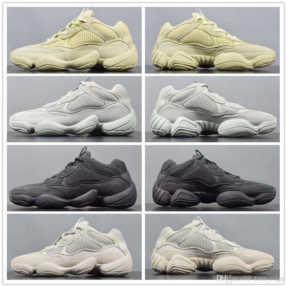 2019 New Wave 500 Sal Running Shoes Mens Desert Rat 500 Utility Preto Blush F36640 DB2908 EE7287 Kanye West Designer Botas Esporte Sneaker
