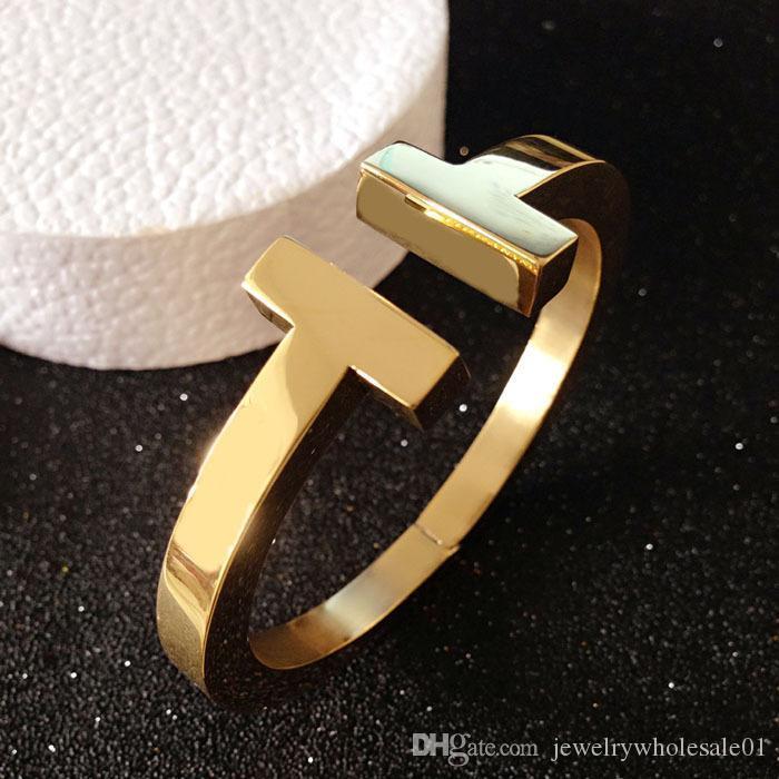 gioielli in acciaio multa moda al titanio di spessore doppio T bracciali semplici simmetriche uomini braccialetto aperti e donne gioielli braccialetto