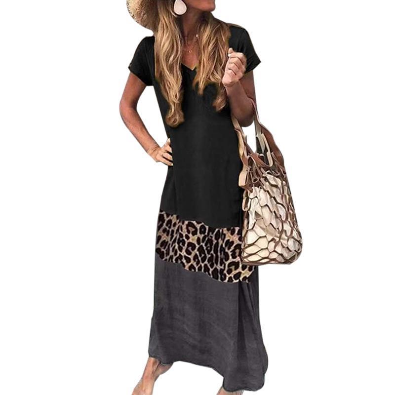 Vestido largo de leopardo de la vendimia más la camiseta floja de playa del verano vestido ocasional de la manera de las mujeres Las mujeres de manga corta