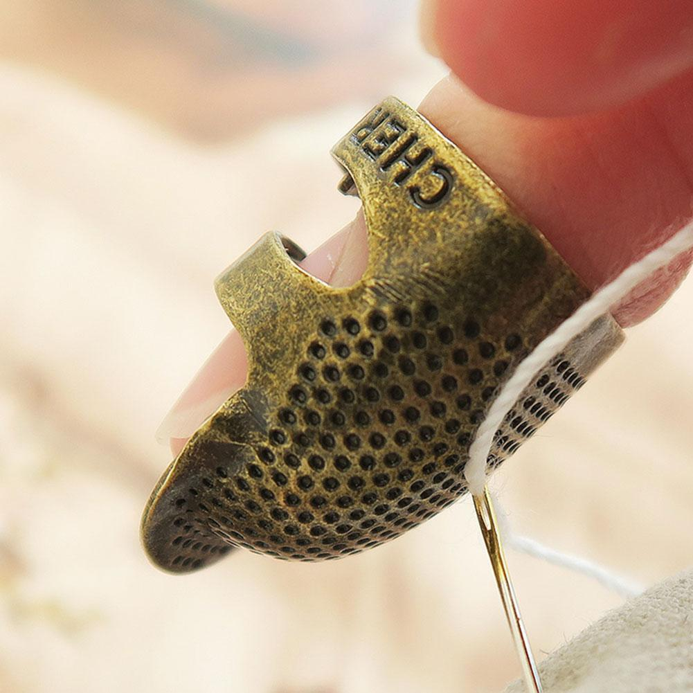Vintage Gold Handworking Needle Thimble Finger Protector Antique Ring Metal