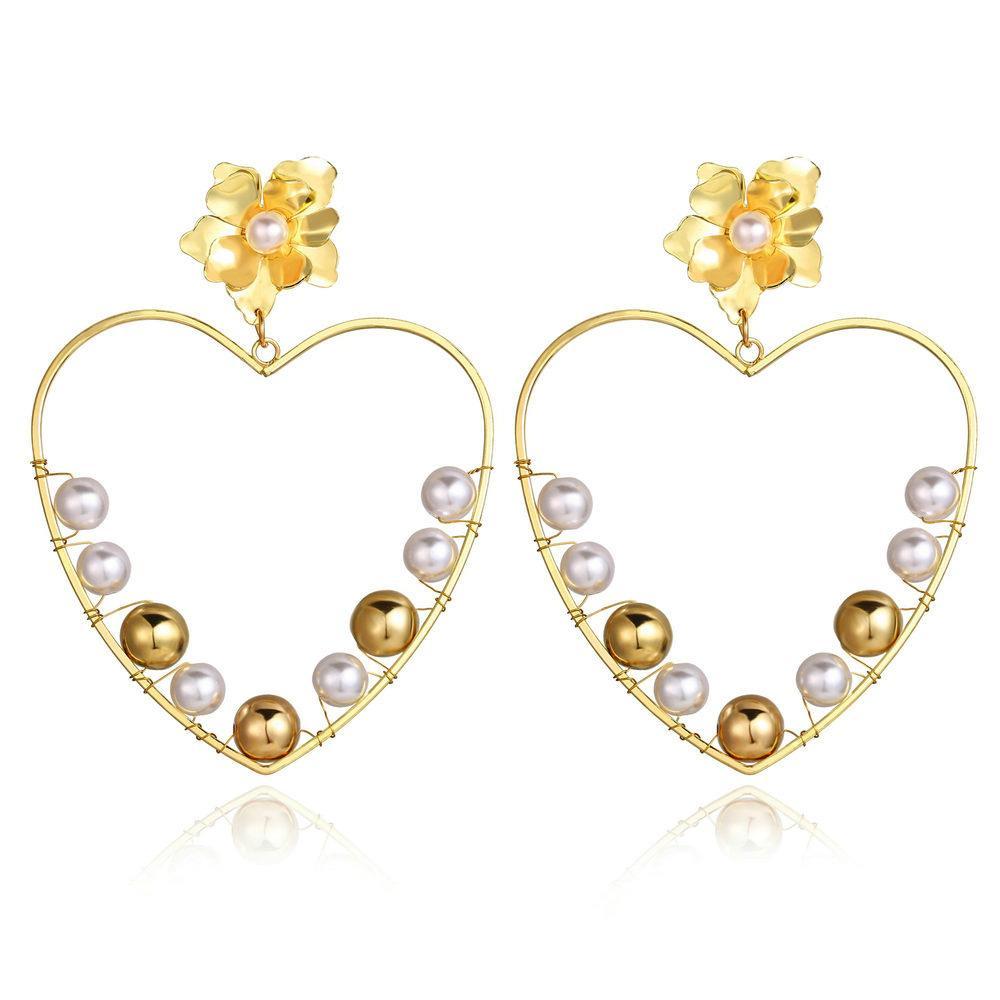 Gold-Legierung Perlen-Tropfen-Ohrringe für Frauen-großer Kreis-Blumen-Feder-Herz übertrieben Ohrringe 2020 Modeschmuck neuen