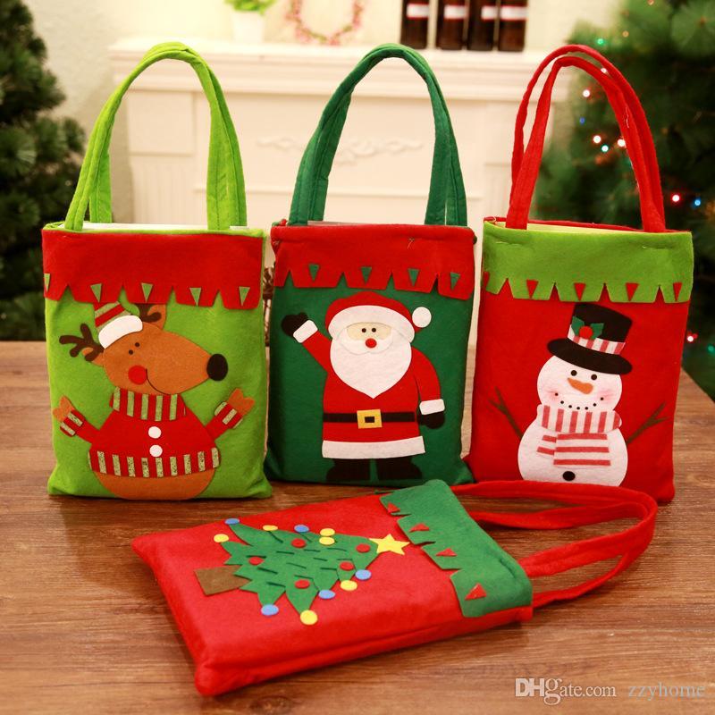 Babbo Natale Elk pupazzo di neve Albero modello Handle Bag Candy Bag di Natale Decor Reticule per i bambini regalo Collocato