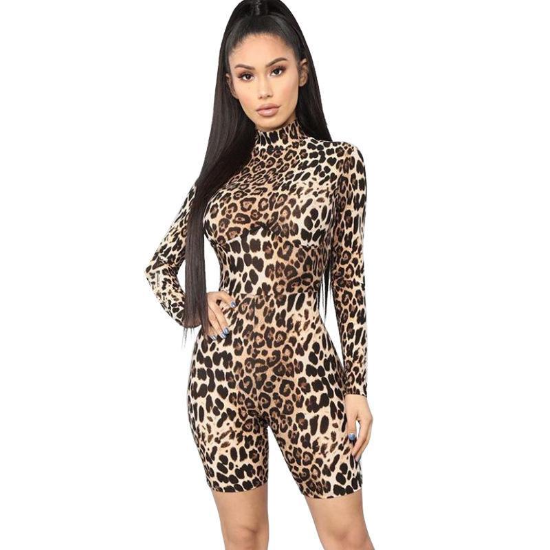 패션 섹시한 여성 레오파드 긴 소매 T 셔츠 점프 수트 바디 수트 스트레치 자료 하이 칼라 여성 T 셔츠 블라우스 S M의 L 인쇄하기