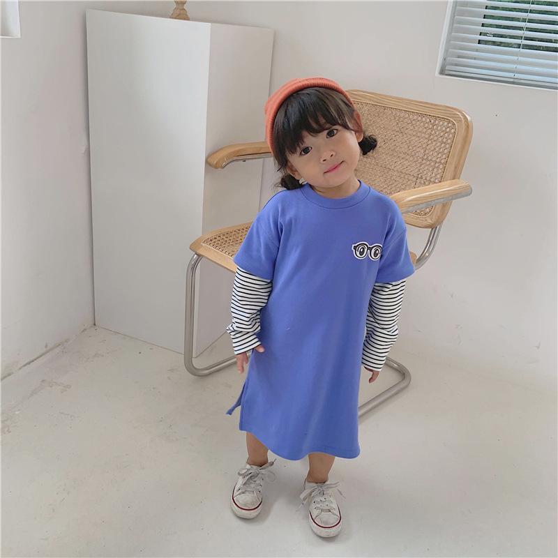 19 otoño nueva camisa falsa de dos piezas para niños ropa de hermano y hermana modelos femeninos algodón bebé manga larga T