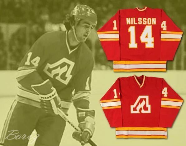 ATLANTA FLAMES Camisolas 14 KENT NILSSON 30 DANIEL BOUCHARD Vermelho 100% Costura Personalizado Hockey Jerseys