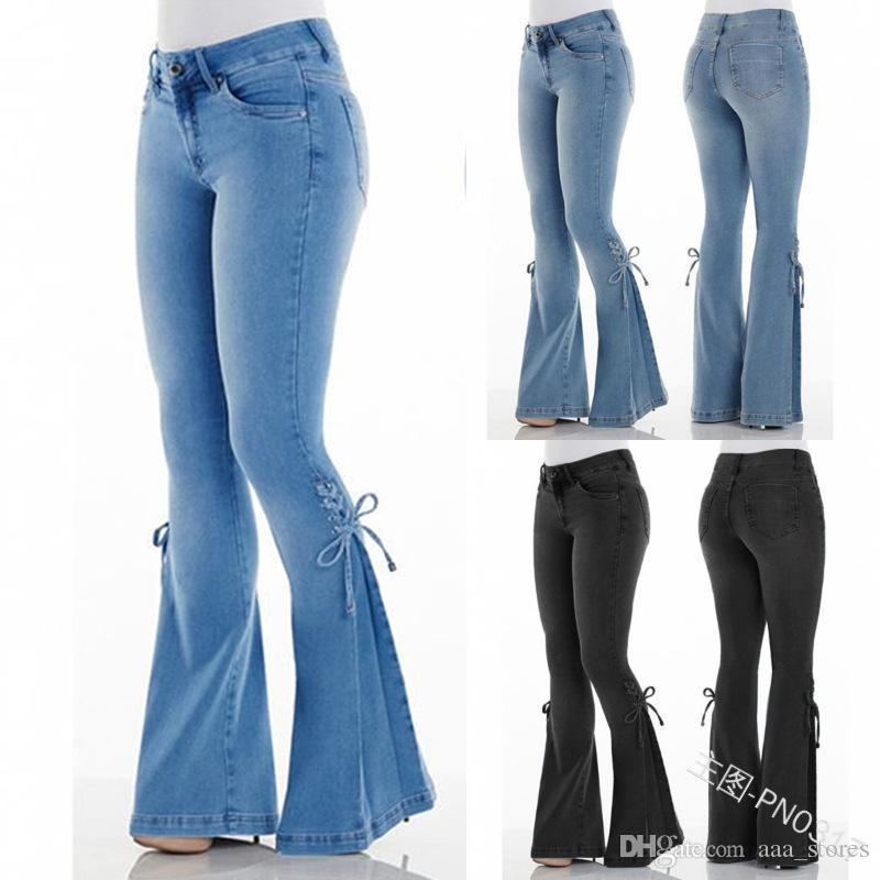 2.020 Tamaño Vaqueros ajustados Mujer Denim Plus Vaqueros ajustados mujeres Streetwear Negro bengala pantalones vaqueros Bell Bottom Medio cintura arco Jean