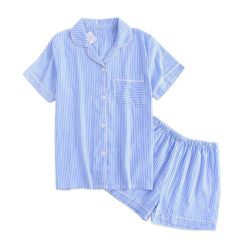 Fresh Stripes Shorts Pajamas Sets Women Pyjamas Summer Short Sleeves 100% Gauze Cotton Sexy Korean Indoor Sleepwear Pijamas Y19071901