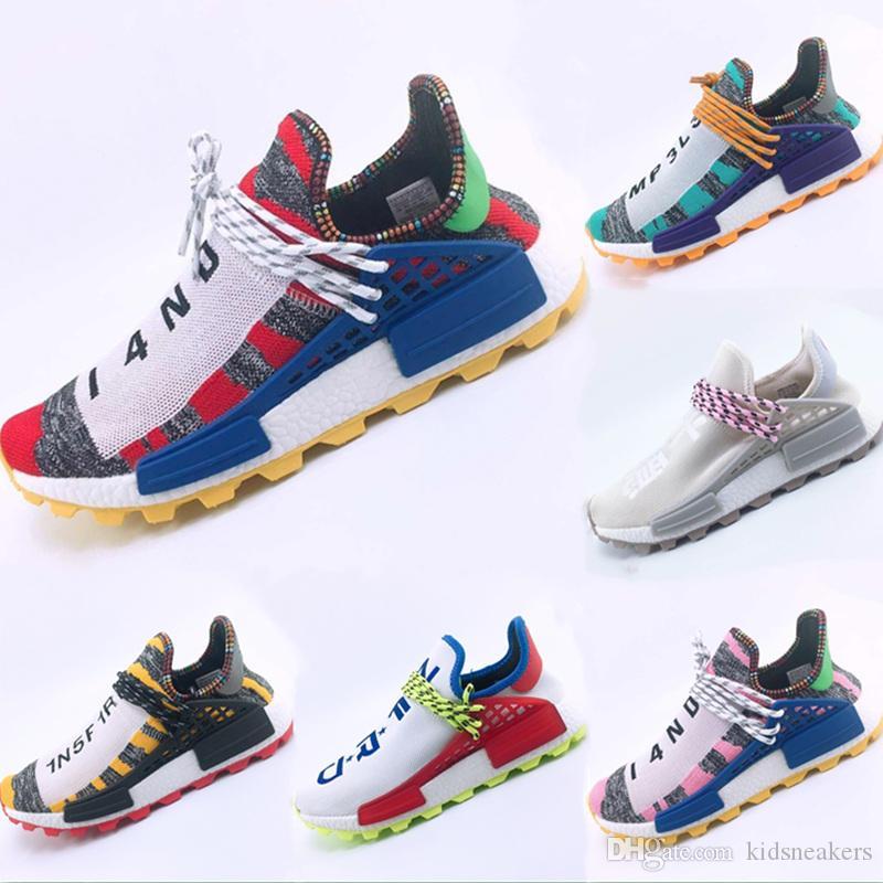 2019 Hu Human Race Primeknit Scarpe casual traspiranti Pharrell Williams Human Race Buffer Foam Casual Sneakers Eur: 36-47