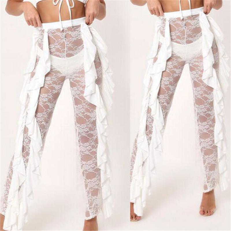 82a0814635 ... 2019 Sexy Women Beach Mesh Ruffles Swimsuit Cover-up Pants Plus Size  Hot Sale Ladies ...