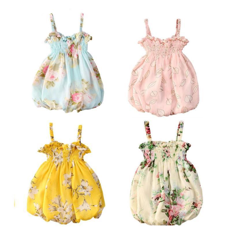 2020 Yaz 0-24M Yürüyor Bebek Kız Bebek Giydirme Çiçek Baskı Kolsuz Prenses Sevimli Tatlı Elbiseler Kıyafetler Giyim