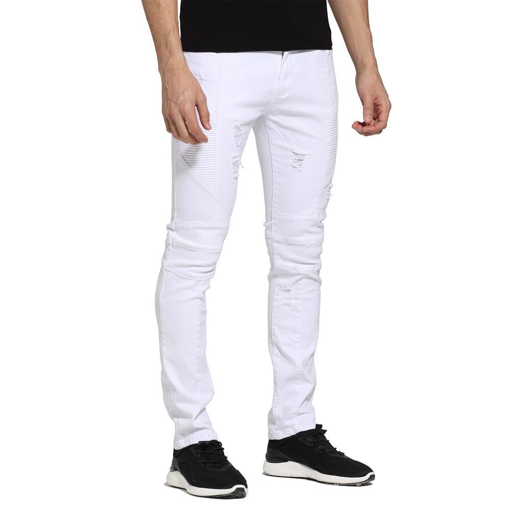 Jeans Hommes Blanc Design Slim Fit Jeans Biker Casual Ripped Pour Hommes H1705