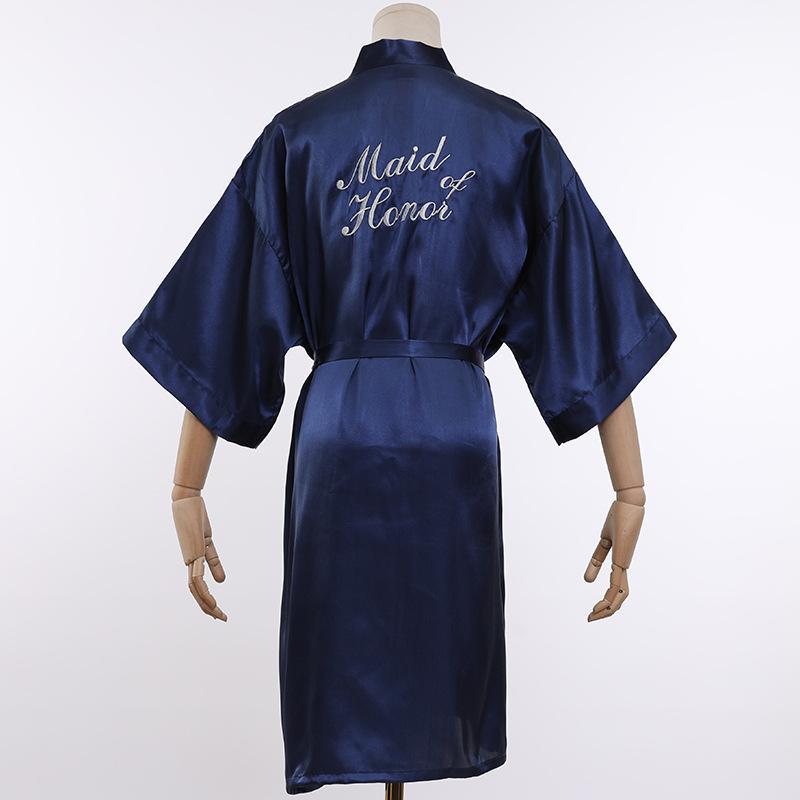 Вышивка Женщины Атлас Короткий Ночной Халат Твердые Кимоно Халат Сексуальный Халат Пеньюар Невесты Невесты Мода Халат