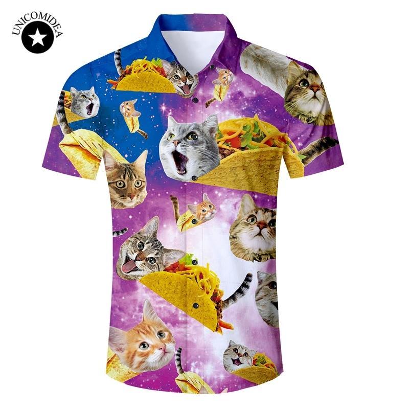Eur Size Mens Shirt Funny Galaxy Space Cat Kitten 3d Print Hawaiian Shirt Male Slim Fit Short Sleeve Shirts 2020 Summer Clothes Y200409