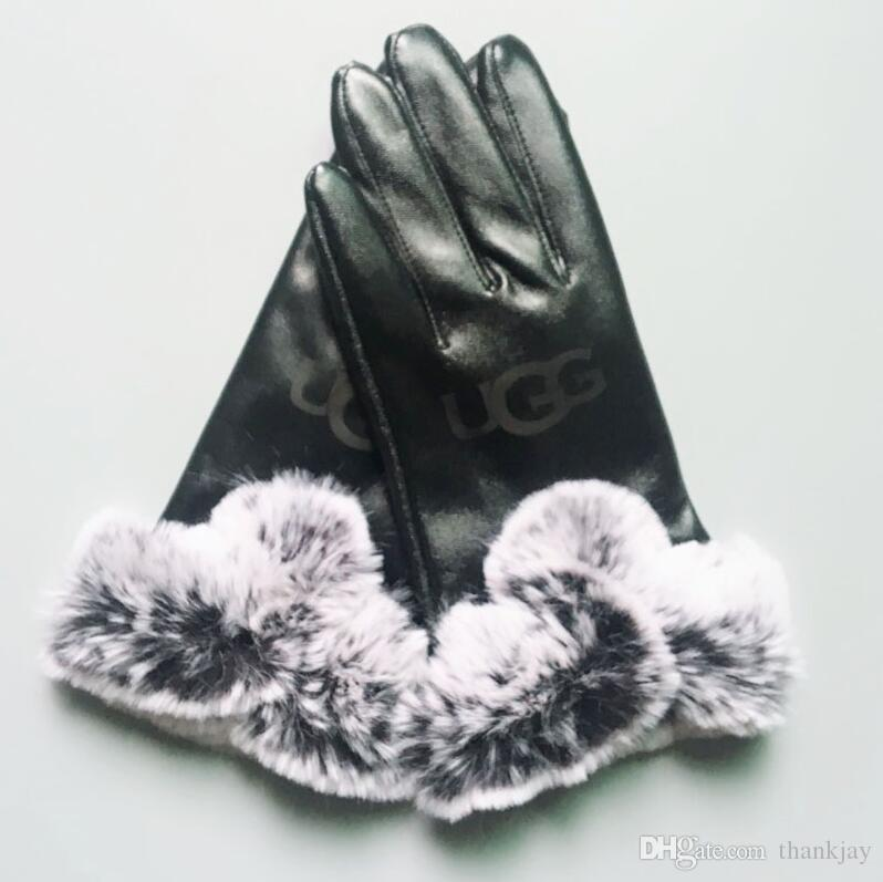 Women Skiing Gloves Outdoor Sports Brand Designer Fur Leather Five Fingers Gloves Solid Color Winter Outdoor Warm Leather Gloves