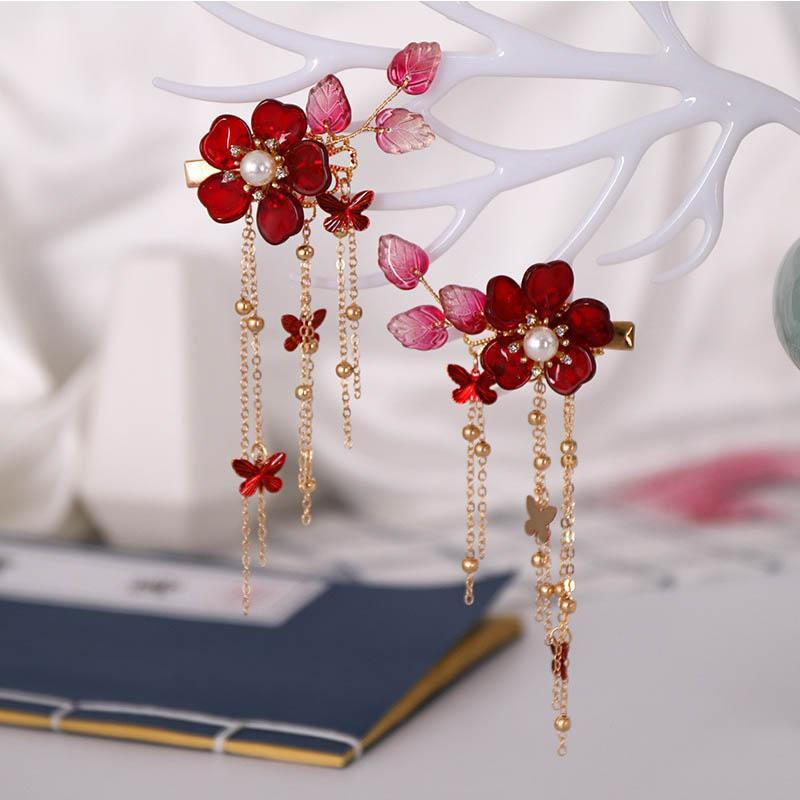 Red Flower Crystal Hair Pins Headpiece Hair Jewelry Chinese Tassel Hairpins Tiaras Wedding Bridal Hair Accessories