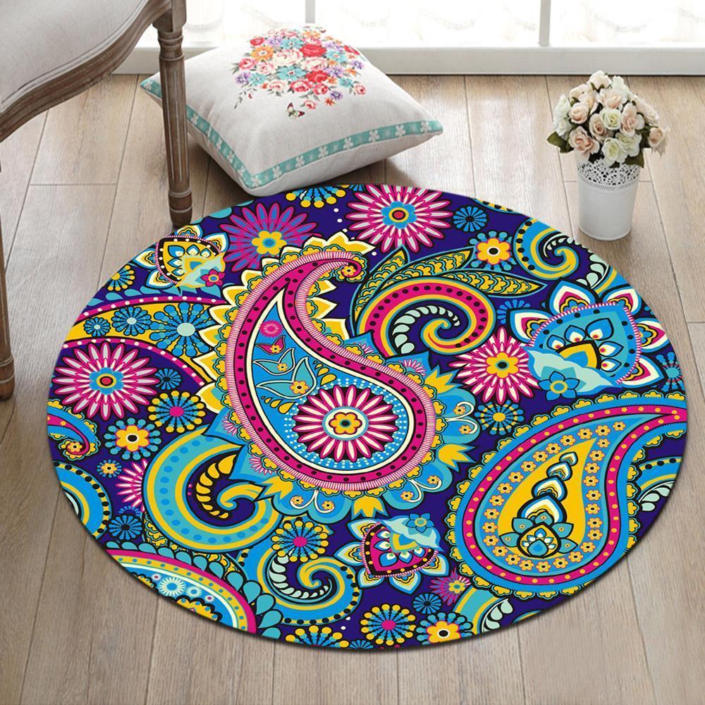 Room Floor Carpet Bright Color Mandala Pattern Non-slip Round Beach Mat Area Rug